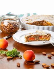 Crustless apricot frangipane tart with almonds and aromatic lemon thyme