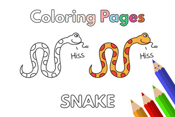 Cartoon Snake Coloring Book