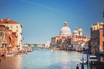 Venice, Italy. View of the Grand Canal and the Cathedral of Santa Maria della Salute