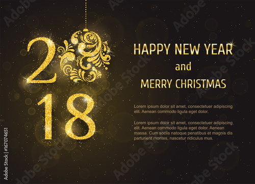 vector 2018 happy new year and merry christmas greeting card with sparkling glitter golden textured christmas