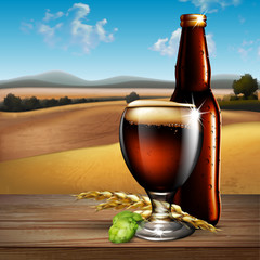 Beer background.  Highly realistic illustration with the effect of transparency.