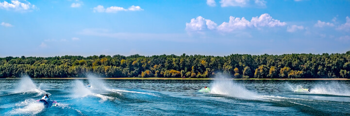 Poster Water Motor sporten Water jets. Speed boats on water