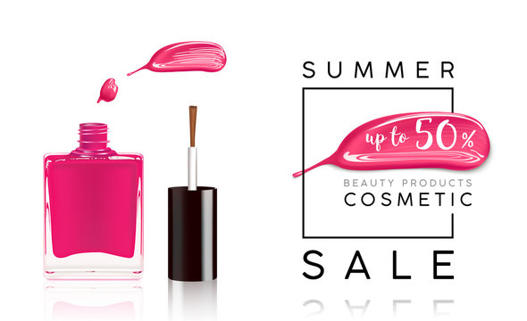Cosmetics sale banner with nail polish and pink smear. Fashion sale discount illustration