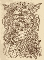 Mystic drawing with scary skull, steampunk and ghotic symbols as rose, demon wings, cross, cogs and wheels on texture background