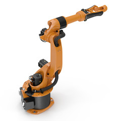 robotic hand machine tool isolated on white. 3D illustration, clipping path