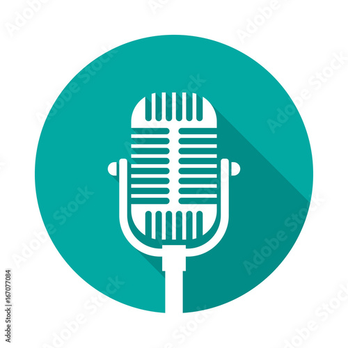 Old microphone circle icon with long shadow  Flat design
