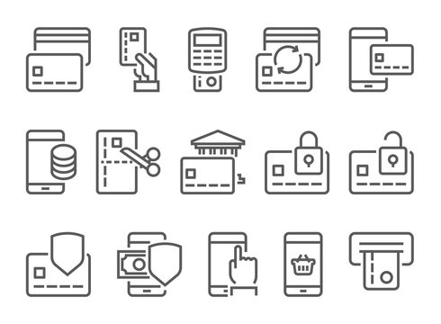 Pay on line and mobile banking line icons