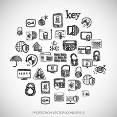 Black doodles Hand Drawn Security Icons set on White. EPS10 vector illustration.