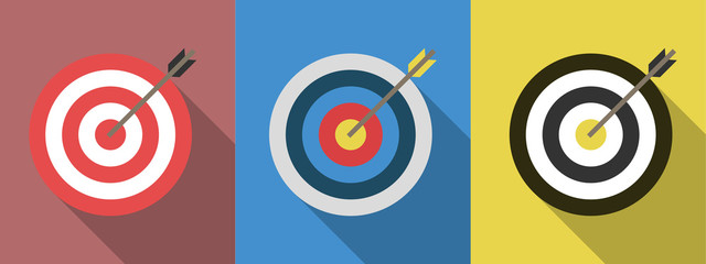 Set of targets with arrows. Target flat icons