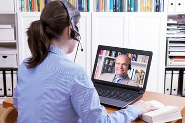 woman headset teacher online lesson