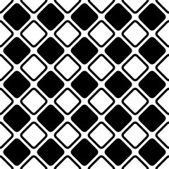 Seamless abstract black and white square grid pattern - halftone vector background design from diagonal rounded squares