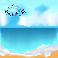 Travel, vacation background, sun and beach blur.