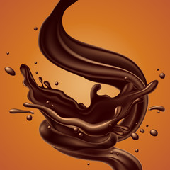 abstract background with chocolate splash, high detailed realistic illustration