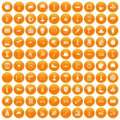 100 helmet icons set orange