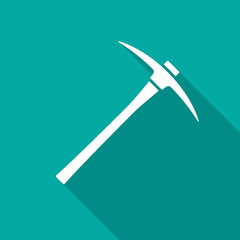 Pickaxe icon with long shadow. Flat design style. Pick axe simple silhouette. Modern, minimalist icon in stylish colors. Web site page and mobile app design vector element.