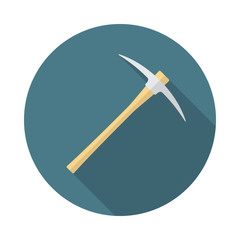 Pickaxe circle icon with long shadow. Flat design style. Pick axe simple silhouette. Modern, minimalist, round icon in stylish colors. Web site page and mobile app design vector element.