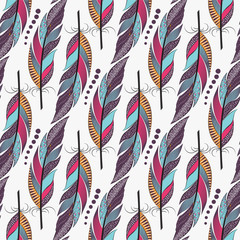 Seamless pattern with large colored feathers