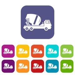 Concrete mixer truck icons set