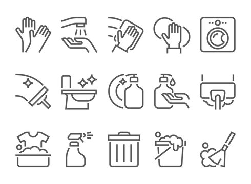 simple set of cleaning related flat line icons