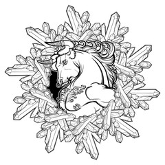 Alchemy element of Earth. Zodiac sign Taurus. Mighty bull in a circular frame of quartz crystals. Vintage art nouveau style concept art for horoscope, tattoo or colouring book