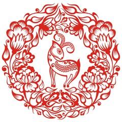Zodiac Sign Goat.Papercut  symbol