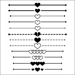 web dividers set heart design eps 10 vector