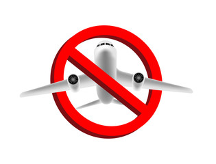 no air plane flying  prohibition sign vector