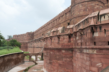 Walls of the famous Red Fort in Agra, India