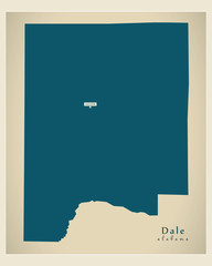Modern Map - Dale Alabama county USA illustration