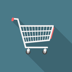 Shopping cart icon with long shadow. Flat design style. Shopping cart simple silhouette. Modern, minimalist icon in stylish colors. Web site page and mobile app design vector element.