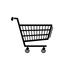 Shopping cart icon. Black, minimalist icon isolated on white background. Shopping cart simple silhouette. Web site page and mobile app design vector element.
