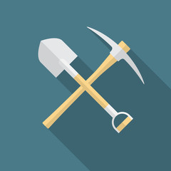Shovel and pickaxe icon with long shadow. Flat design style. Shovel and pick axe silhouette. Simple icon. Modern flat icon in stylish colors. Web site page and mobile app design vector element.