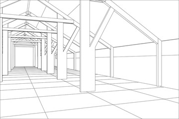 Industrial building wireframe for abstract background.Tracing illustration of 3d.