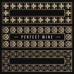 Golden frames in luxury style. For wine packaging design. Black and gold background. Pixel tiles.
