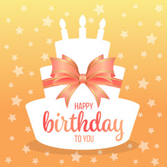 Happy birthday to you with text on white paper cake shape and sweet orange bow and star background vector design