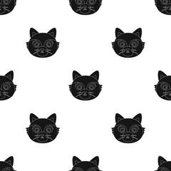 Fox muzzle icon in black style isolated on white background. Animal muzzle symbol stock vector illustration.