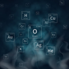 Scientific vector background with chemical elements symbols and white smoke