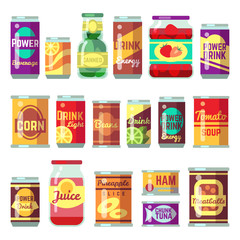 Canned goods vector set. Tinned food, conservation tomato soup and vegetables