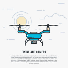 Quadcopter flying in sky. Drone with camera. Flat style line modern vector illustration with retro colors.