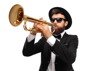 Musician playing a trumpet Wall mural