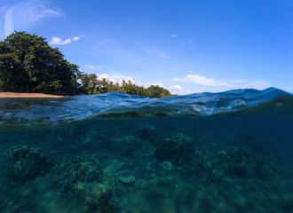 Double landscape with sea and sky. Sea panorama split photo. Undersea view of tropical island seashore.