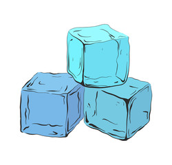 Hand drawn blue ice cubes. Vector illustration for your creativity