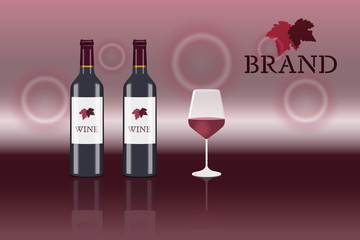 Brand. 2 Bottles of red wine with glass and logo. In red shades.