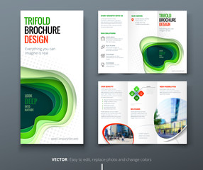 Business tri fold brochure design. Blue green corporate business template for tri fold flyer. Layout with modern square photo and abstract background. Creative concept folded flyer or brochure.