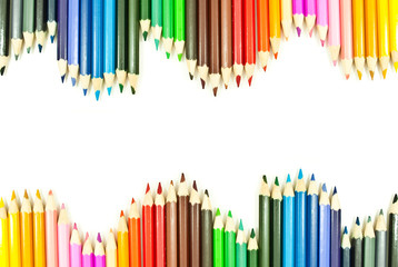 Colorful pencil isolated on the white background.