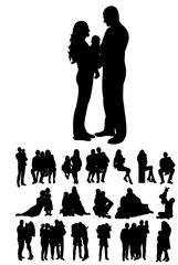 Set of family silhouettes,