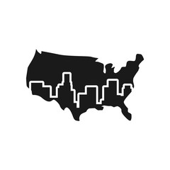 united states map and building. vector logo.