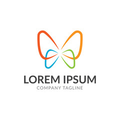 butterfly color logo vector