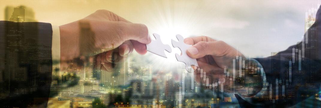 Cooperation puzzle partnership teamwork
