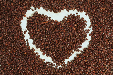 heart coffee on white background and cup coffee